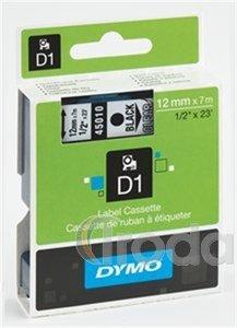 Kazetta Dymo D1 9mmx7m fekete betű/fehér háttér
