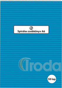 Spirálos zsebkönyv A6 50 lapos vonalas