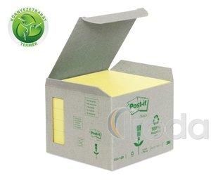 Öntapadós jegyzettömb minitorony 76x76 sárga Green Line 3M Post-it 6db/csomag