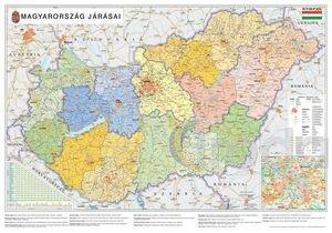 Térkép-Magyarország járásai fémléces, fóliás térkép, 140x100 cm